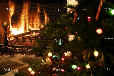 "Wallmonkeys Peel and Stick Wall Graphic - Fireplace & Christmas Tree - 24""W x 16""H"