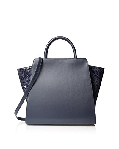 Zac Zac Posen Women's Eartha Vachetta/Painted North/South Satchel, Navy