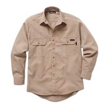 Workrite Flame-Resistant 7-oz. Tecasafe Plus Long Sleeve Dress Shirt, Placket Cuff, Khaki