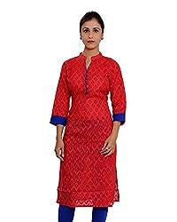 JPF Kurtis Women's Cotton Straight Kurtas(D-01212_38_Red, Red, 38)