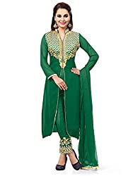 Green Georgette Embroidered Unstitched Dress Material
