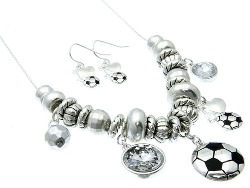 NECKLACE AND EARRING SET METAL CRYSTAL STONE SILVER Fashion Jewelry Costume Jewelry fashion accessory Beautiful Charms