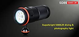 Superbright diving & photography flashlight KLARUS SD80 5000 lumens 8XM-L2 LEDs+ XPE red +UV LED 100 meters waterproof diving torch with batteries