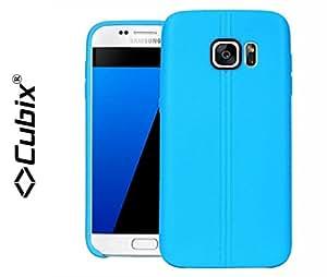 Galaxy S7+ Case, CUBIX Stiched Line Design Armor Flip TPU Back Case Cover For Samsung Galaxy S7+ (Blue)