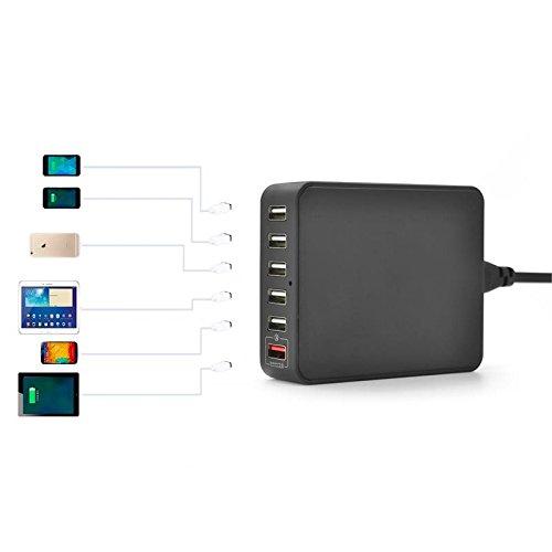 6-Port USB Hub Lade Adapter Ladegeraet mit Quick Charge Technologie Speedport, 35W 5V schwarz