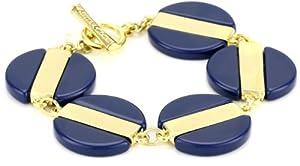 "Kenneth Cole New York ""Modern Deco"" Blue and Shiny Gold Stripe Bead Toggle Bracelet"