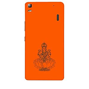 Skin4gadgets Maa Laxmi - Line Sketch on English Pastel Color-Orange Phone Skin for LENOVO A7000