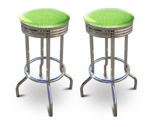 2 Glitter Green Vinyl Specialty / Custom Barstools Set