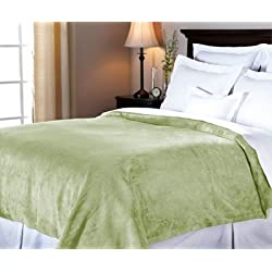 Sunbeam Luxurious Velvet Plush Queen Heated Blanket with 20 Heat Settings, Auto-off, 2-Digital Controllers, 5 Yr Warranty - Ivy Green