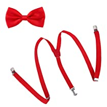 HDE Skinny Suspender & Bow Tie Matching Sets - One Size - Red