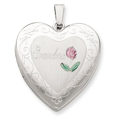 Genuine .925 Sterling Silver 24mm Enameled & D/C Grandma Heart Locket. 100% Satisfaction Guaranteed.