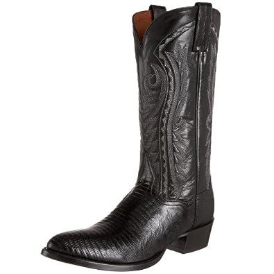 "Dan Post Mens Black Lizard Skin Raleigh R Toe 13"" Western Cowboy Boots 6.5 D"