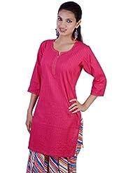Jaipur Kala Kendra Women's Cotton Pintax Work Solid Indian Kurti Kurta Tunic Ethnic Wear