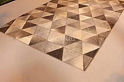 Handmade Natural Cowhide Leather Rug - Pyramids (5\'x7\' (150cm x 210cm) L Area Rug)