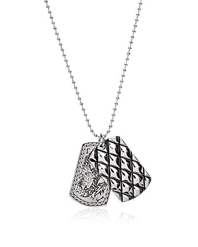 1913 Stainless Steel Dragon & Argyle Double Dog Tag Necklace