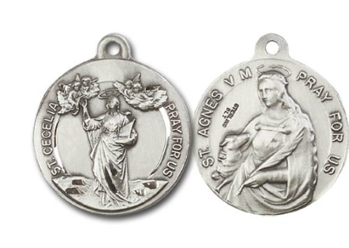 [St. Cecilia (Patron Saint of Music, Musicians & Singers) & St. Agnes of Rome Medal, (Patron Saint of (Patronage) Girls, Virgins, Girls Scouts, Affianced Couples, Betrothed Couples, Bodily Purity, Chastity, Children of Mary, Colegio Capranica of Rome, Engaged Couples, Gardeners, Rape Victims & New York) Sterling Silver Pendant with 24