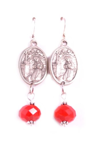 St. Rita Earrings Catholic Jewelry Catholic Earrings Religious Jewelry Garnet Red