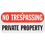 "SmartSign Aluminum Sign, Legend ""No Trespassing Private Property"", 6"" high x 12"" wide, Black/Red on White"