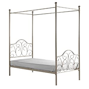 Metal Twin Pewter Canopy Bed With Curtains Kitchen Home