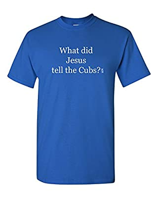 Chicago Cubs Jesus Adult Unisex Tee T Shirt, 100% Cotton, Organic Ink, Royal Blue