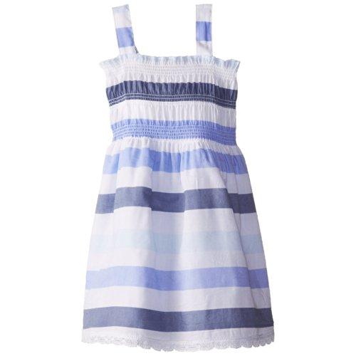 Calvin Klein Little Girls' Printed Slub Jersey Smocked Dress, Blue/White, 3T front-642548