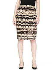 Cotton Rich Ikat Print Pencil Skirt