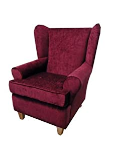 Wine chenille queen anne design wing back fireside high - High back wing chairs for living room ...