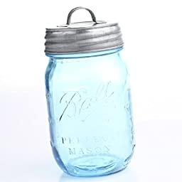 Vintage Blue 100th Anniversary Ball Pint Mason Jar with Galvanized Handled Lid