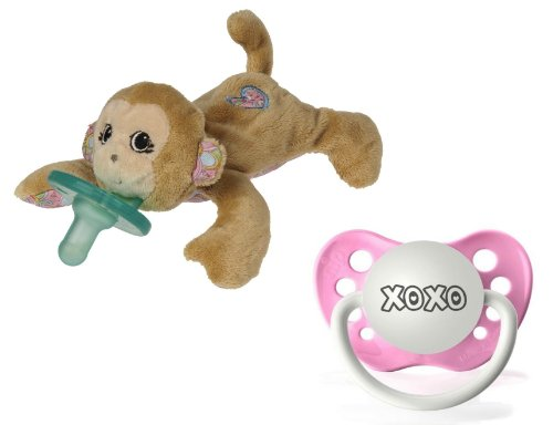"Wubbanub Maddie Monkey Infant Plush Pacifier With ""Xoxo"" Pacifier"