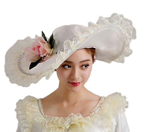 Soojun Women s 1801s Era Misses Wide Brim Victorian Hats for Party ... edec7db26e18