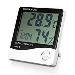 TRIXES Digital LCD Temperature and Humidity Meter Clock Alarm