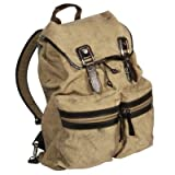 ProPassioneCancuero Rucksack, Canvas Sand, waterpr./leather Mocca, compl. lined, 1 main comp., mobile phone comp., 2 outer comp., carrying handle, shoulder strap, h 45 x w 36 x d 14 cm
