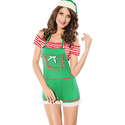 LFDDR Christmas X-mas Women's Sexy Jumpsuit Butterfly Punky Santa Costume