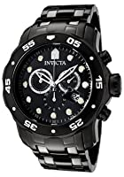 Invicta Men's 0076 Pro Diver Collection Chronograph Black Ion-Plated Stainless Steel Watch from Invicta