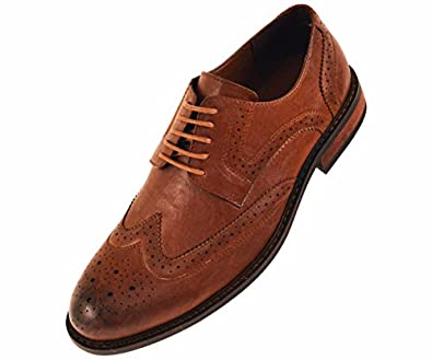 amali mens brown classic smooth dress shoe with perforated