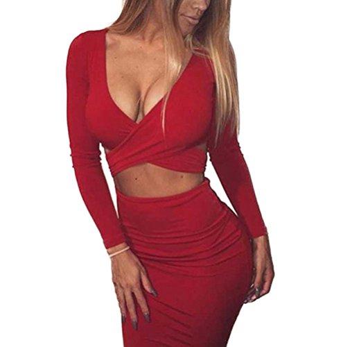Memorose Womens Sexy Long Sleeve Cut-Out Bandage Bodycon Clubwear Midi Dress Red S
