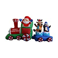 7 Foot Long Christmas Inflatable Santa Claus on Train with Penguin Reindeer Decoration