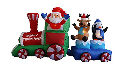 Foot long christmas inflatable santa claus on train with