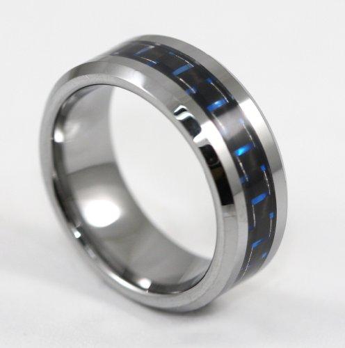 8MM Men's Tungsten Carbide Ring Wedding Band W/ Carbon Fiber RingSize 13
