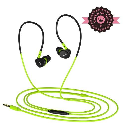 Queen Sanke V7 Green Hifi Microphone Wired Running Sport Waterproof Mp3 In Ear Headphones