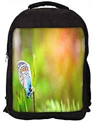 """Snoogg Mixed Color Butterfly In Green Petal Casual Laptop Backpak Fits All 15 - 15.6"""" Inch Laptops"""