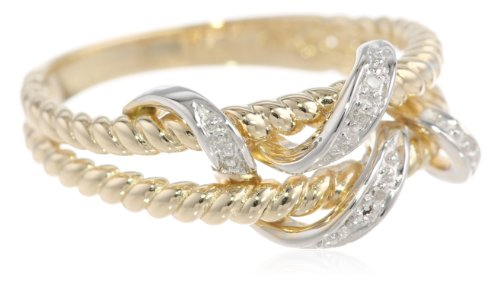 10k Yellow Gold Double Rope Diamond Ring (0.01 cttw, I-J Color, I2-I3 Clarity), Size 8