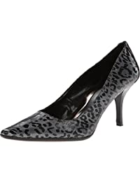 Calvin Klein Dolly Womens Grey/Black Leopard Patent Leather High Heels