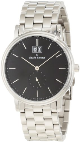 Claude Bernard Men's 64011 3 NIN Classic Gents Black Dial Stainless Steel Big Date Watch