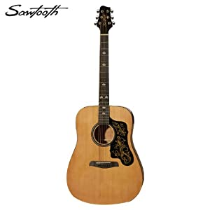 Sawtooth Acoustic Guitar with Custom Black Pickguard Shape from Sawtooth