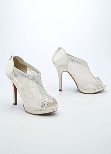 Lace High Heel Shootie with Flatback Crystals Style AYAEL9, Ivory, 5.5