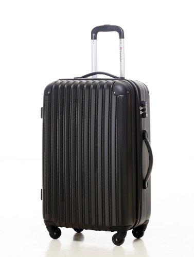 [Travelhouse]スーツケース キャリーケース 軽量 TSAロック ファスナータイプ 半鏡面仕上げ(S, black)