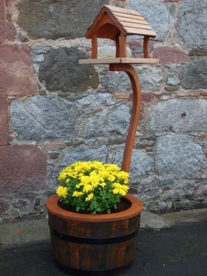 Bird Table On Barrel Planter Stand, Small. Wild Garden Bird Feeder From Buttercup Farm (Cream)
