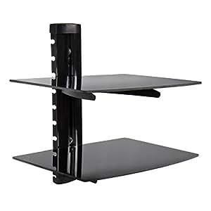 Amazon Com 2 Tier Dual Glass Shelf Wall Mount Bracket