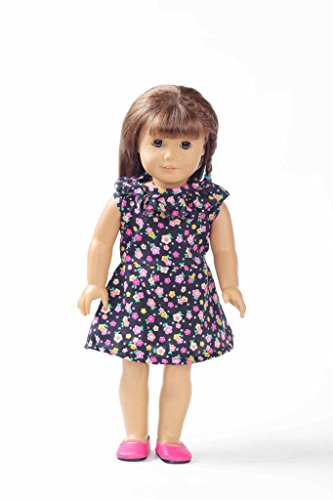 Teenitor(TM) Black Short Dress With Color Flowers Fits 18 Inch Girl Dolls (Shipping By FBA) - 1